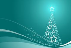 background with abstract christmas tree and stars Stock Photos