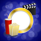 Background abstract cinema blue gold red drink popcorn movie clapper board frame circle illustration. Vector Royalty Free Stock Photos