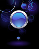 Background with abstract circles. Dark background with glowing rings and glass blue banner Royalty Free Illustration