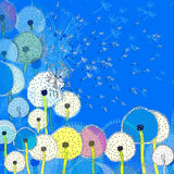 Background with abstract colorful dandelions stock illustration