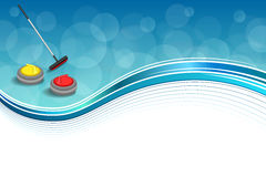 Background abstract curling sport blue ice red yellow stone broom frame illustration Stock Photography