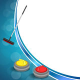 Background abstract curling sport blue ice red yellow stone broom frame illustration Royalty Free Stock Image