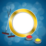 Background abstract curling sport blue ice red yellow stone broom gold circle frame illustration Royalty Free Stock Image