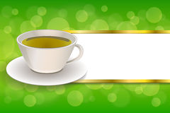 Background abstract drink green tea cup frame gold stripes illustration. Vector vector illustration