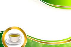 Background abstract drink green tea cup gold circle frame illustration. Vector stock illustration