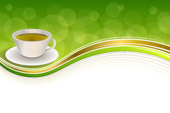 Background abstract drink green tea cup gold frame illustration. Vector stock illustration