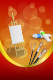 Background abstract easel picture paint brush red yellow frame vertical gold ribbon illustration Royalty Free Stock Image