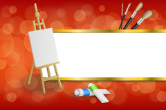 Background abstract easel picture paint brush red yellow gold stripes frame illustration Royalty Free Stock Photos
