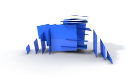 Background of abstract explosion blue cubes 3d render. Working Royalty Free Stock Photography