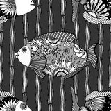 Background of abstract fish. Seamless background of abstract fish: pipefish and small fish, plants, hand drawn style zentangl. Black and white vector Stock Images