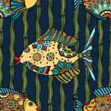 Background of abstract fish. Seamless background of abstract fish: pipefish and small fish, plants, hand drawn style zentangl. Colored vector illustration Royalty Free Stock Images