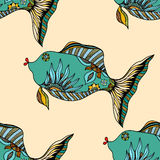 Background of abstract fish. Seamless background of abstract fish: pipefish and small fish, plants, hand drawn style zentangl. Colored vector illustration Royalty Free Stock Image