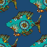 Background of abstract fish. Seamless background of abstract fish: pipefish and small fish, plants, hand drawn style zentangl. Colored vector illustration Stock Photo