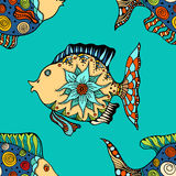 Background of abstract fish. Seamless background of abstract fish: pipefish and small fish, plants, hand drawn style zentangl. Colored vector illustration Stock Image