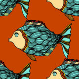 Background of abstract fish. Seamless background of abstract fish. Vector illustration Stock Photography