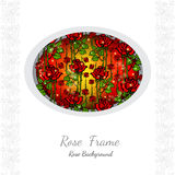 Background with abstract floral rose pattern on circle frame and white part for your text Royalty Free Stock Image