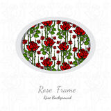 background with abstract floral rose pattern on white circle Stock Images