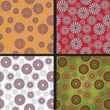 Background with abstract flowers. Green, red, orange royalty free illustration