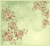 Background with abstract flowers on green Royalty Free Stock Image