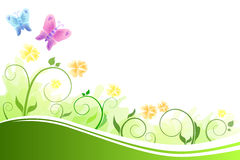 Background abstract flowers green and yellow flying blue and pink butterflies Stock Image
