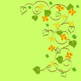 Background of abstract flowers and leaves. Calligraphy vector illustration