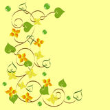 Background of abstract flowers and leaves. Calligraphy stock illustration