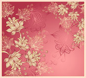 Background with abstract flowers on pink Royalty Free Stock Images