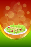 Background abstract food chicken Caesar salad tomato crackers green red orange frame vertical gold ribbon illustration. Vector Stock Photos