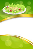 Background abstract food chicken Caesar salad tomato crackers green red orange frame vertical gold ribbon illustration. Vector Stock Photography