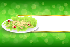 Background abstract food chicken Caesar salad tomato crackers green red orange yellow gold stripes frame illustration. Vector Royalty Free Stock Photos