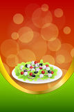Background abstract food Greek salad tomato feta cheese green black olives onion red green yellow frame vertical gold ribbon Stock Images