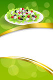 Background abstract food Greek salad tomato feta cheese green black olives onion red green yellow gold frame ribbon vertical. Illustration vector Stock Photography