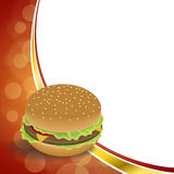 Background abstract food hamburger red orange frame illustration. Vector Vector Illustration