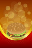 Background abstract food hamburger red orange frame vertical gold ribbon illustration. Vector Royalty Free Stock Photo