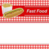 Background abstract food hot dog white French fries box red yellow frame cell illustration Stock Image