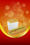 Background abstract food hot dog white French fries box red yellow frame vertical gold ribbon illustration Stock Photo