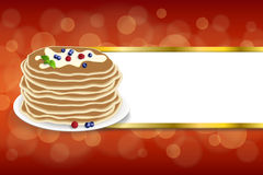 Background abstract food pancakes butter berries blueberry raspberries red yellow mint green stripes gold frame illustration. Vector stock illustration
