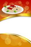 Background abstract food pasta spaghetti Italy green red yellow frame vertical gold ribbon illustration Royalty Free Stock Image