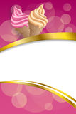 Background abstract food pink beige vanilla ice cream frame vertical gold ribbon illustration vector Royalty Free Stock Images
