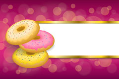 Background abstract food pink yellow baked donut glazed ring stripes gold frame illustration Royalty Free Stock Image