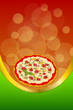 Background abstract food red pizza green frame vertical gold ribbon illustration Royalty Free Stock Photography