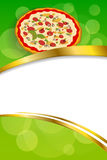 Background abstract food red pizza green yellow frame vertical gold ribbon illustration Stock Image