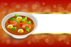 Background abstract food sea thai soup red green yellow shrimp egg gold stripes frame illustration Stock Photos
