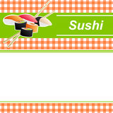 Background abstract food sushi orange yellow green frame illustration. Vector Stock Image