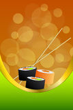 Background abstract food sushi orange yellow green frame vertical gold ribbon illustration Stock Photography