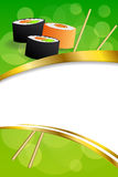 Background abstract food sushi orange yellow green frame vertical gold ribbon illustration Stock Images