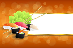 Background abstract food sushi orange yellow green stripes gold frame illustration. Vector Stock Photo
