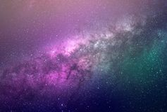 Background of abstract galaxies with stars and planets with galaxy motifs in purple and green space of night light universe