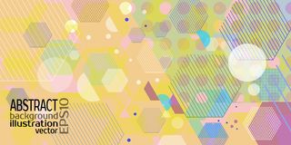 Background abstract geometric multicolored of rhombuses circles hexagon strips and lines vector.  Royalty Free Stock Photos