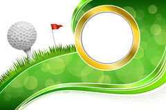 Background abstract golf sport green grass red flag white ball frame gold illustration Royalty Free Stock Images